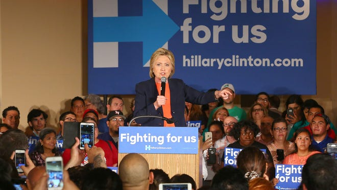 Hillary Clinton speaks to supporters during a campaign rally stop in El Centro, June 2, 2016