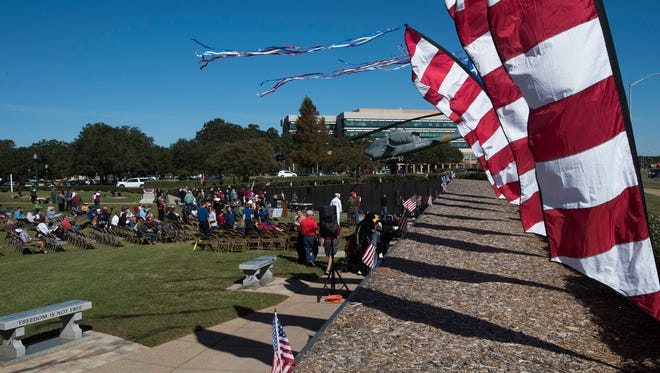 Veterans and their families gather at the Wall South for the annual Veterans Day ceremony on Nov. 11, 2017.