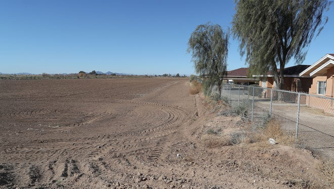 The Palo Verde Center is a proposed cannabis production facility that would be built in this open field in Blythe, California, January 24, 2018.