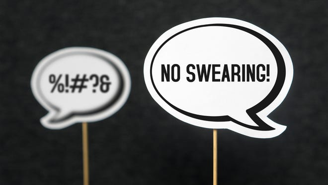 Speech bubble telling the other not to swear.