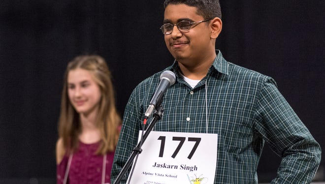 Jaskarn Singh of Alpine Vista School competes in the 2018 Tulare County Spelling Bee at the Visalia Convention Center on Wednesday, February 21, 2018.