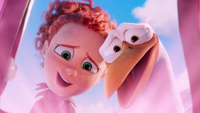 """Tulip voiced by Katie Crown and junior voiced by Andy Samberg in """"Storks."""""""