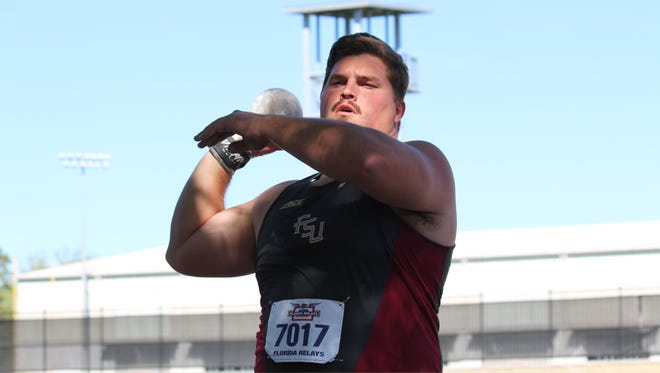 Gulf Breeze's Austin Droogsma prepares to throw the shot put for Florida State at the Florida Relays on April 1, 2017. Droogsma won the event and is now ranked No. 2 nationally.