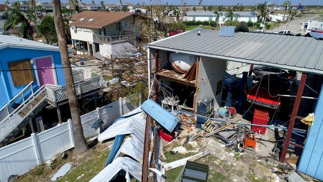 Hurricane Harvey damage in Port Aransas, Texas on Aug. 30, 2017. Harvey struck the Coastal Bend as a Category 4 hurricane on Friday, August 25, 2017.