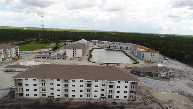 An aerial photo taken before Hurricane Irma shows construction progress at the new apartment community of Milano Lakes, which was little affected by Hurrican Irma.
