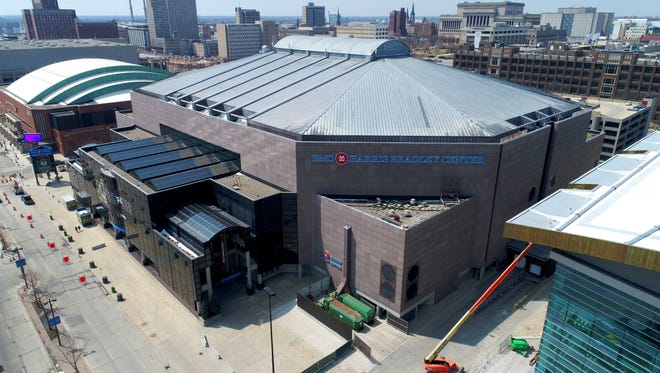 Construction continues on the future $524 million Milwaukee Bucks Arena, next to the existing BMO Harris Bradley Center in Milwaukee.