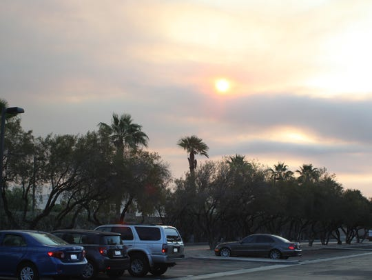 Smoke from the Lake Fire blocks the sun Friday morning