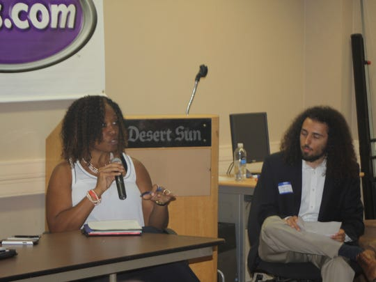 Berlinda Blackburn of the Coachella Water Authority answers questions during The Desert Sun's open house and water conservation forum. Representatives from each Coachella Valley water agency participated and answered questions for an audience.