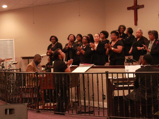 The choir sings at the 145th anniversary celebration of St. John No. 2 Missionary Baptist Church in Denmark.