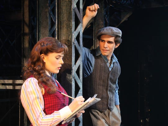 "Morgan Keene (Katherine) and Joey Barreiro (Jack Kelly) of the North American Tour company of Disney's ""Newsies."""