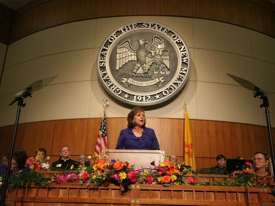 Gov. Susana Martinez delivers her State of the State address on the first day of the 2016 legislative lession on Tuesday.