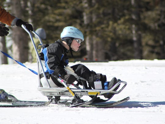 Samuel-Derousse, 12, from San Antonio, is a determined skier at Ski Apache.