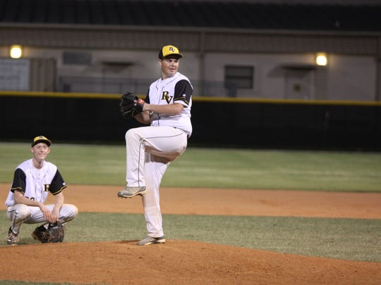 Bishop Verot senior Jaret Rusnell, a team manager all season, gets to pitch the final two outs during senior night.