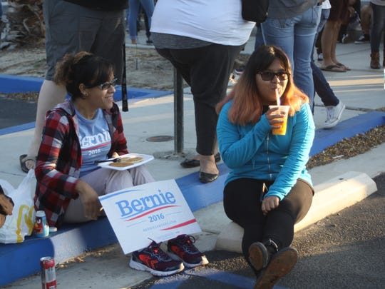 Vermont Sen. Bernie Sanders is holding a rally at Big League Dreams in Cathedral City. People began lining up as early as 2:30 a.m.