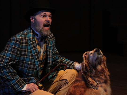 """Gregory Maupin as Launce and the dog Hope as Crab in Kentucky Shakespeare's Kentucky production of """"The Two Gentlemen of Verona,"""" directed by Matt Wallace."""