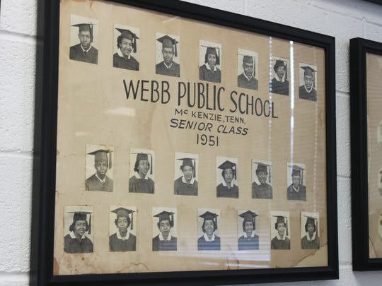 Photos of most senior classes from Webb High School line the walls of the new Webb Historical Museum in McKenzie.
