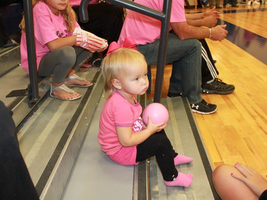 Jessie McCallister enjoyed the recent activities of the Pink Out game held at JPII Catholic School.