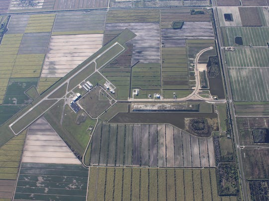 Airglades Airport, as sees from the air. The airport