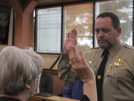 Newly-elected Eddy County Sheriff is sworn into office, Tuesday at the Eddy County Administrative Complex.