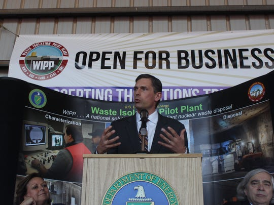 US Sen. Martin Heinrich speaks to a crowd of employees and politicians Monday at the reopening of the Waste Isolation Pilot Plant.