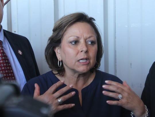 New Mexico Gov. Susana Martinez speaks to the media during a press conference at the reopening of the Waste Isolation Pilot Plant.