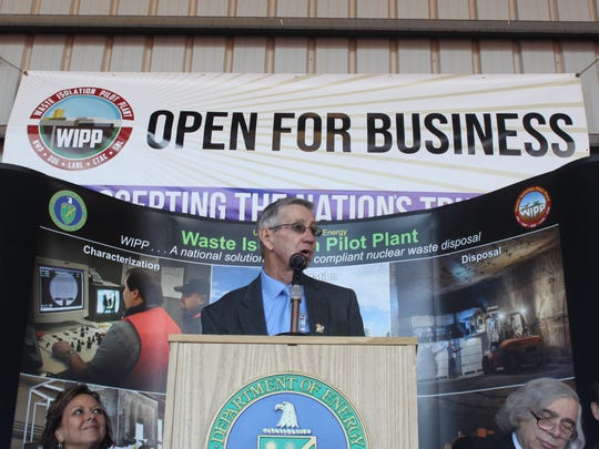 Carlsbad Mayor Dale Janway speaks to attendees Monday at the reopening of the Waste Isolation Pilot Plant.