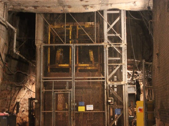 An elevator is used to carry people more than 2,000 feet underground into WIPP's underground passages.