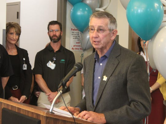 Carlsbad Mayor Dale Janway speaks to attendees at the Pecos Valley Urgent Care's grand opening and ribbon cutting ceremony Wednesday at 3909 National Parks Highway.