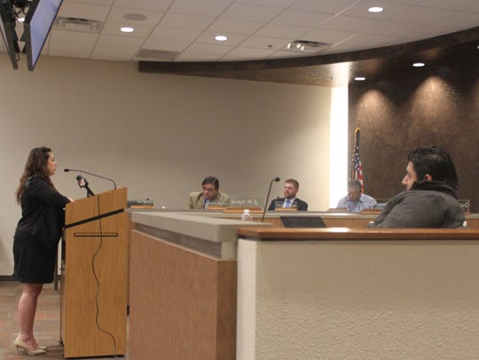 Shannon Carr, a Carlsbad resident, speaks to the City