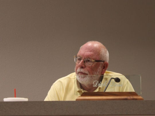 Councilor Richard Doss speaks during a discussion on the I&W Brine Well Wednesday during special City Council meeting.