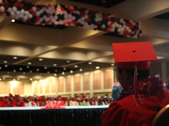 A student looks on as Palm Springs High School's graduation ceremony begins.
