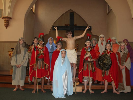 The cast of Mary's Way of the Cross, presented on Holy Thursday by the sixth grade class at John Paul II Catholic School.