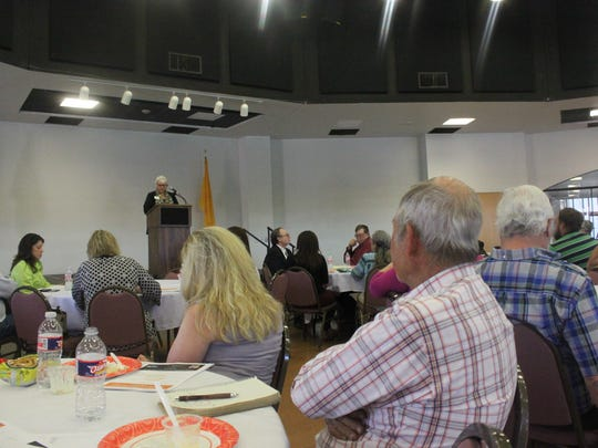 Local officials and leaders attend a luncheon to discuss drug addiction and treatment in their community Monday at the Pecos River Village Conference Center.
