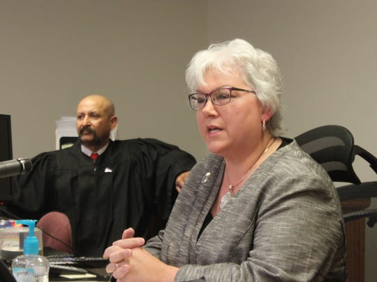 State Rep. Cathrynn Brown speaks to participants of the Eddy County DWI Drug Court Friday at Carlsbad Magistrate Court.