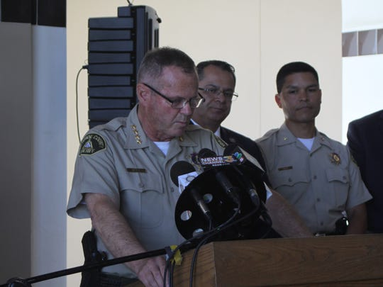 Sheriff Stan Sniff speaks at a press conference on June 2, 2017, regarding the arrest of Gildardo Davila, who is accused of shooting a Coachella sheriff's deputy.