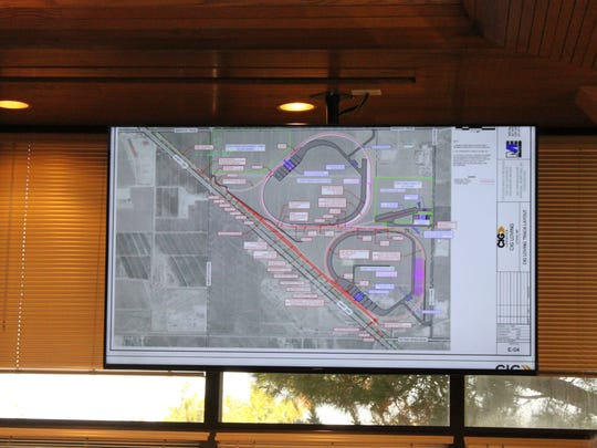 A map of a new transloading facility is presented to the Eddy County Board of County Commissioners Tuesday at the Eddy County Administration Building in Carlsbad.