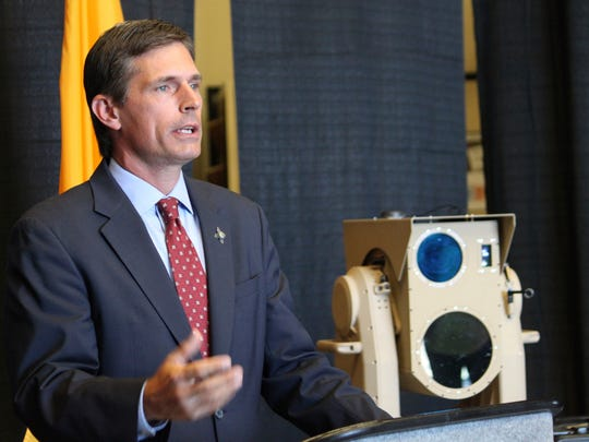 U.S. Sen. Martin Heinrich, D-New Mexico, discusses the potential of high-energy laser weapons systems being developed by engineers at Boeing during a news conference in Albuquerque, N.M., on Wednesday, Aug. 23, 2017. Heinrich said the U.S. Defense Department is investing $17 million as part of an effort to transfer the technology from the lab to the battlefield.