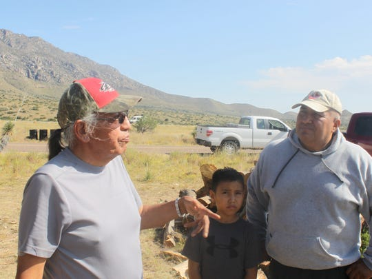 Oliver Enjady speaks with Mescalero Apache members during a blessing ceremony, Sept. 16 at Guadalupe Mountains National Park.