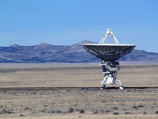 This Feb. 10, 2017 photo shows one of the 27 radio antennas that make up the Very Large Array astronomical observatory is positioned on tracks on the Plains of San Augustin west of Socorro.