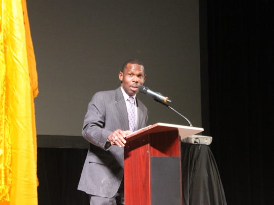 Acting Director of the Bureau of Land Management Mike Nedd, discusses changing regulations in the oil and gas industry during the Carlsbad Mayor's Energy Summit, Oct. 16, at the Walter Gerrells Performing Arts Center.