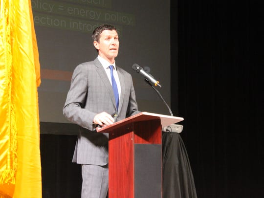 Ryan Flynn, executive director of the New Mexico Oil and Gas Association talks about the importance of the industry during the Carlsbad Mayor's Energy Summit, Oct. 16, at the Walter Gerrells Performing Arts Center.