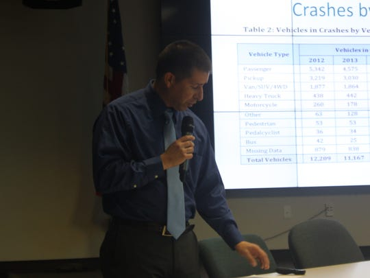 Franklin Garcia, New Mexico Department of Transportation Traffic Safety Division director, discusses crash statistics during a town hall meeting, Jan. 12 at the Skeen-Whitlock Building, 4021 National Parks Highway.