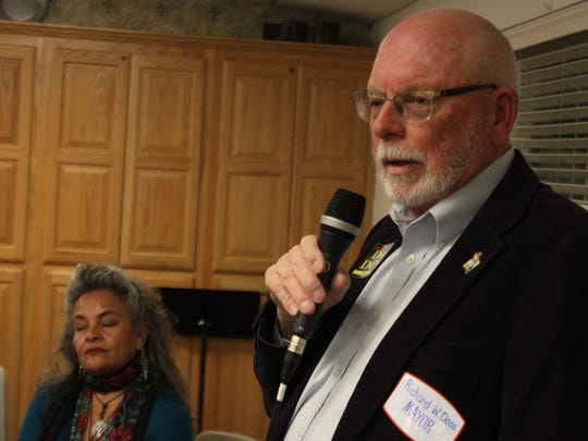 Mayoral candidate and Mayor Pro tempore Richard Doss speaks during a candidate forum Feb. 3 at the First Christian Church Disciples of Christ.