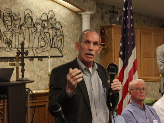 Mark Walterscheid, candidate for Ward 4 city councilor addresses the crowd during a forum,  Feb. 3 at the First Christian Church Disciples of Christ.
