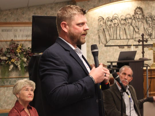 Wes Carter, who is running unopposed for a four-year term as Ward 4 city councilor urges locals to vote during a candidate forum Feb. 3 at the First Christian Church Disciples of Christ.