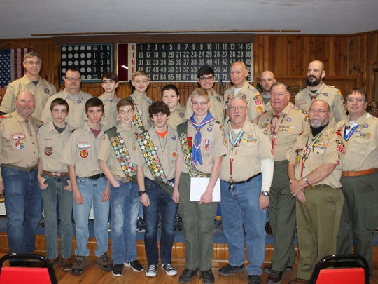 Scouts gather to honor Mason Erger for earning his Eagle Scout honor Saturday, Jan. 13. Front row (l-r): John Neibaum, Brennan Robbins, Shiloh Robbins, Jack Ward, Kyle Schlack, Mason Erger, Danny John, Dennis Gormley, Gary Heishman and Steve Rose. Back row: Dave Schlack, Larry Beltz, Landon Phillips, Mitchell Erger, Riley Fox, James Landeros, Tom Clingerman, Colby Robbins and Shane Phillips.
