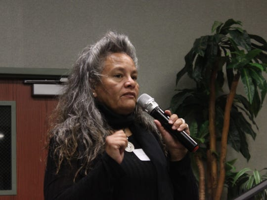 Ward 1 city council candidate Lisa Anaya Flores addresses the crowd during an public forum, March 1, 2018 at the Leo Sweet Community Center.