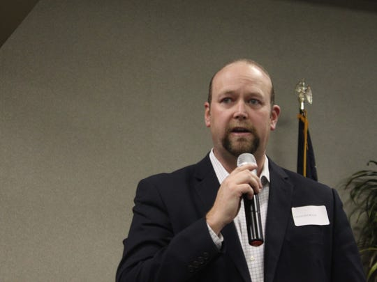 Ward 1 city council candidate Chad Ingram discusses city issues during a public forum, March 1, 2018 at the Leo Sweet Community Center.