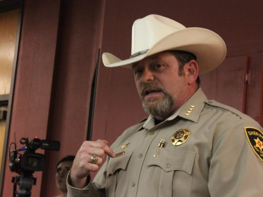 Eddy County Sheriff Mark Cage discusses law enforcement on US 285, March 22, 2018 at Loving High School.