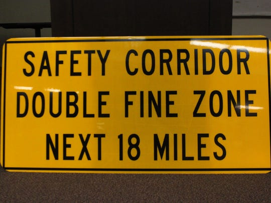 A sign used to alert motorists of the safety corridor on U.S. Highway 285 in southern Eddy County, where traffic fines double and law enforcement has an increased presence, March 23, 2018 at Loving High School.
